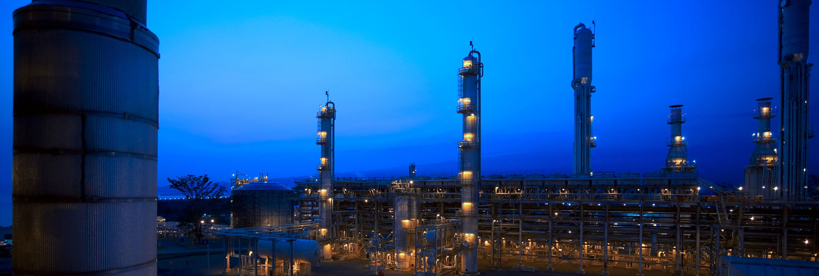 Night shot of Methanol plant in purple light